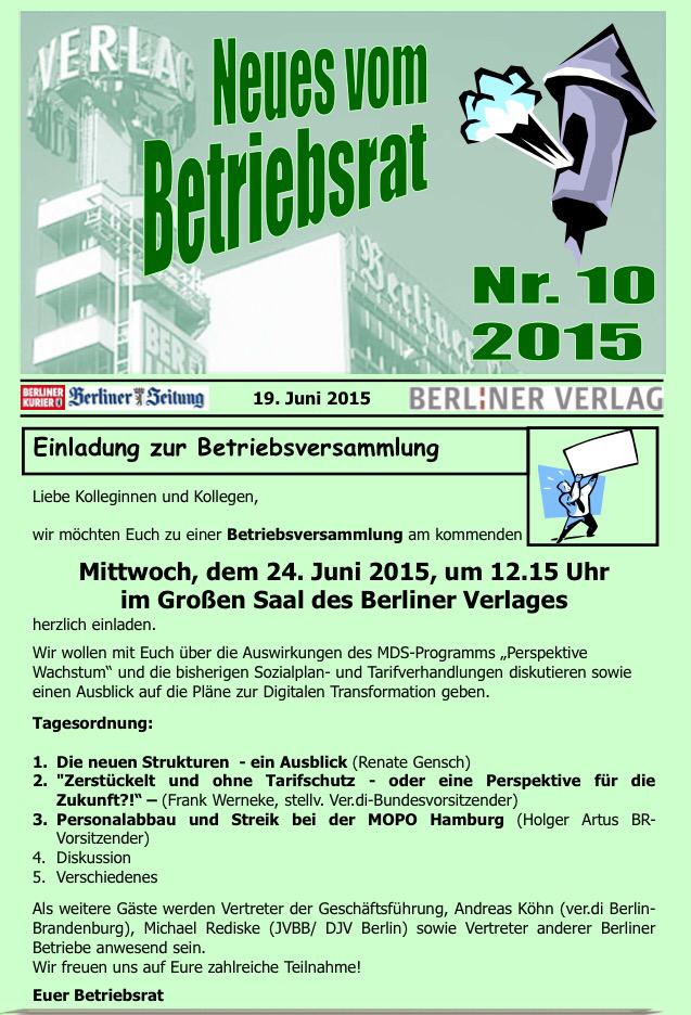 betriebsversammlung im berliner verlag am 24. juni 2015, Einladung