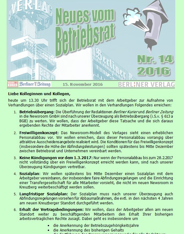 Heute Erste Beratung über Sozialplan Im Berliner Verlag