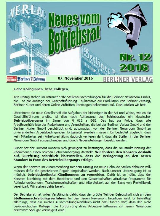 Betriebsrat Berliner Verlag Beim Wechsel In Die Berliner Newsroom