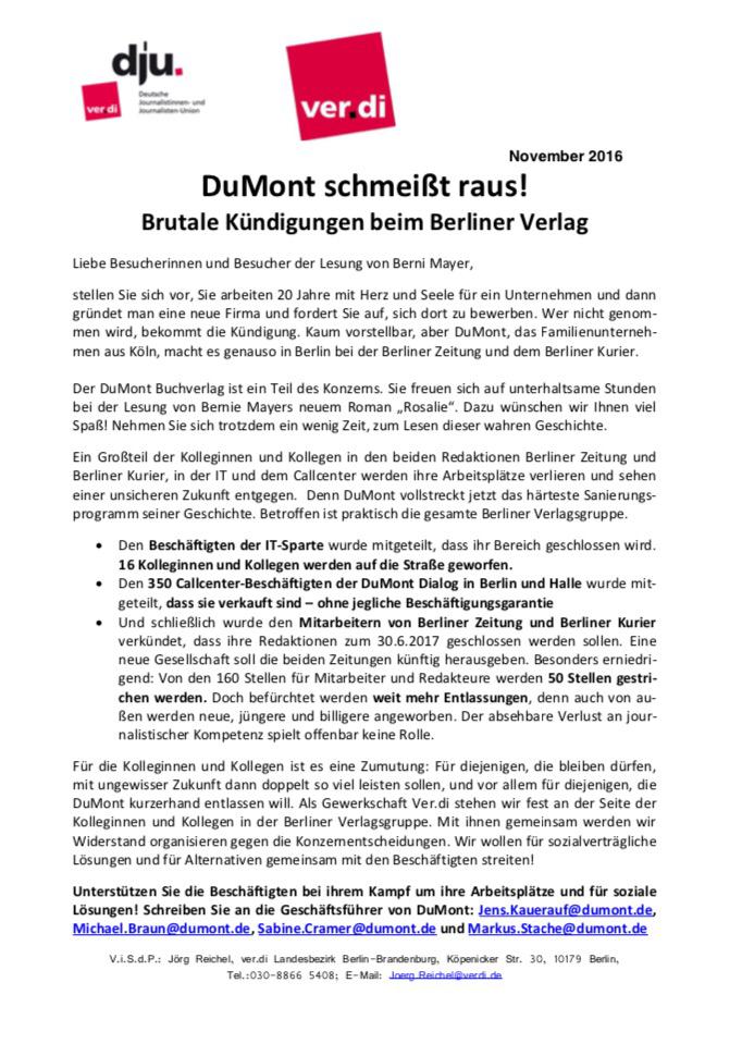 Verdi Flugblatt Vor Volksbühne Zur Dumont Buchvorlesung